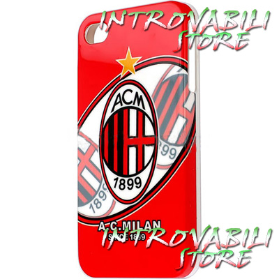 COVER GUSCIO DECORATA A.C. MILAN APPLE IPHONE 4